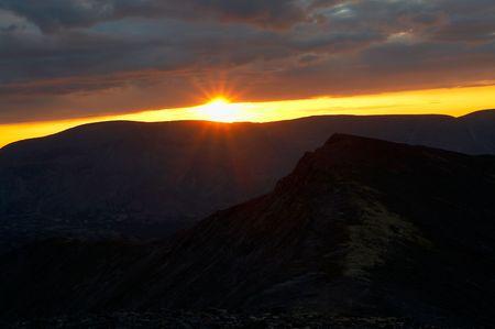 Sunset in Khibini mountains, Kola peninsula, Russia Stock Photo