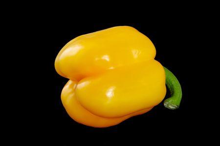Yellow sweet pepper on black