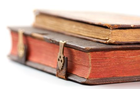 Antique books on white background Stock Photo