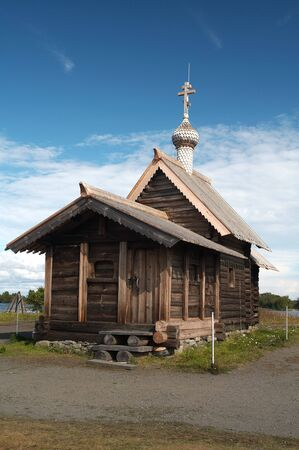 Old wooden chapel in Russian north, Kizhi island, Lake Onega Stock Photo