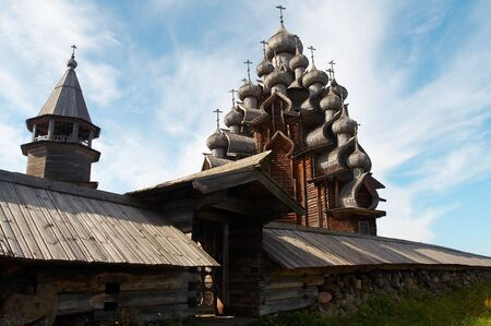 onega: Old wooden temple in Russian north, Kizhi island, Lake Onega