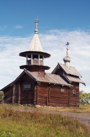 Old wooden chapel in Russian north, Kizhi island, Lake Onega photo