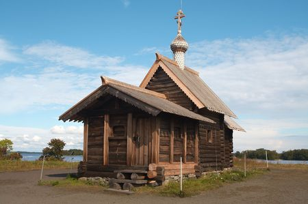 onega: Old wooden chapel in Russian north, Kizhi island, Lake Onega Stock Photo