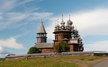 Old wooden temple in Russian north, Kizhi island, Lake Onega photo
