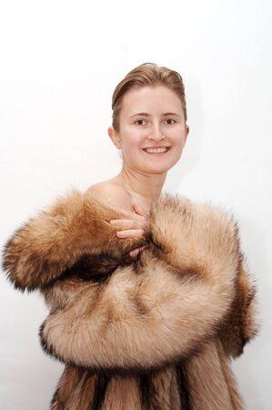 racoon: Kobieta w futro racoon
