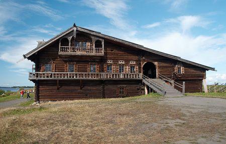 Big wooden izba on Kizhy island, Onego lake, Russia photo