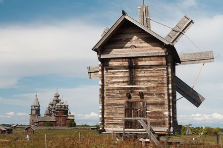 Windmills on Kizhy island, Russia Stock Photo