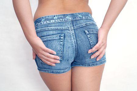 Vrouw onderaan op witte achtergrond Stockfoto