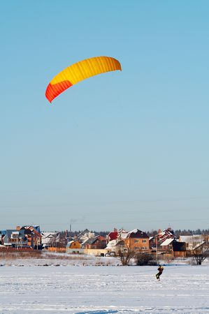 Red and yellow power kite