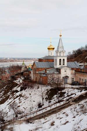 reverential: Chiesa Vintage in inverno, Nizhniy Novgorod, Russia Archivio Fotografico