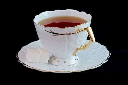 Cup of tea on black Stock Photo