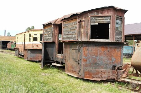 Old rusty railway snow-plough Stock Photo