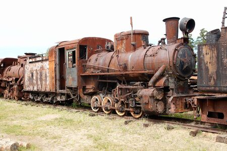 Little russian black steam locomotive