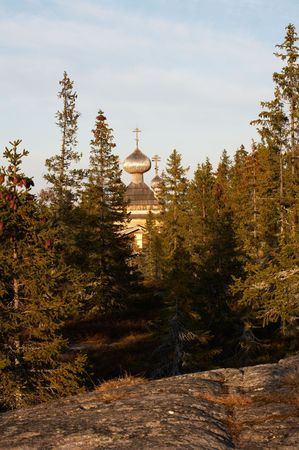 Old wooden church in Virma village, Karelia, Russia