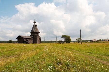 Old wooden church in Kiprovo (Saunino), Russia