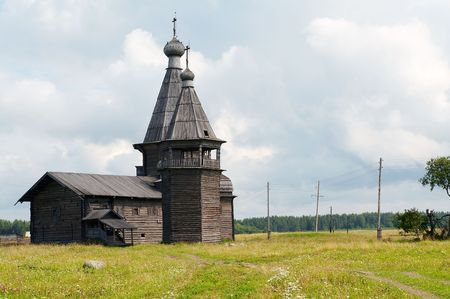 Old wooden church in Kiprovo (Saunino), Russia