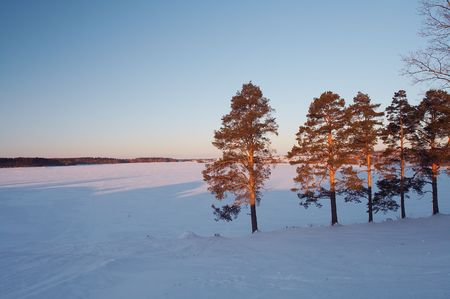 Country landscape - lake under ice