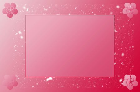 Cute Empty Flower Photo Frame With Particles Red Gradient Background. For Baby & Kids Picture Frame, shower, Greetings, & Invitation Cards.