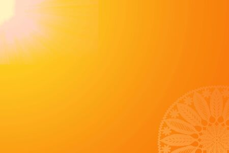 Sunny Summer Orange Background With The Bright Sun And Vintage Decorative Circle Design On Corner, With Empty Space For Text & Content.