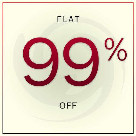Flat 99% Off Modern Discount Sale Offer Banner Template Design.