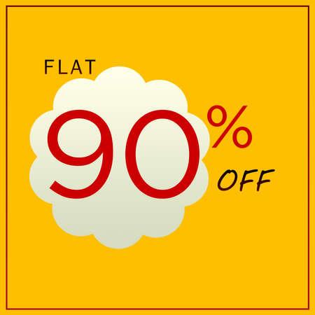 Flat 90% Off Discount Trendy Yellow Banner Design Template.