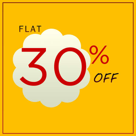 Flat 30% Off Discount Trendy Yellow Banner Design Template.