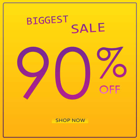 90% Off Biggest Sale Offer Elegant Modern Clean Banner Design Template WIth Shop Now Button.