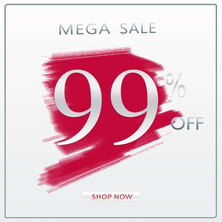 99% Off Mega Sale Discount Offer Modern Silver Concept Banner Design With Shop Now Button. 版權商用圖片