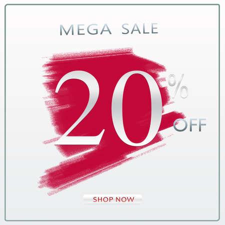 20% Off Mega Sale Discount Offer Modern Silver Concept Banner Design With Shop Now Button. 版權商用圖片