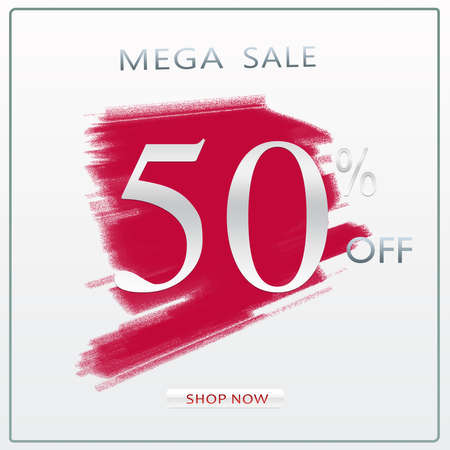 50% Off Mega Sale Discount Offer Modern Silver Concept Banner Design With Shop Now Button. 版權商用圖片