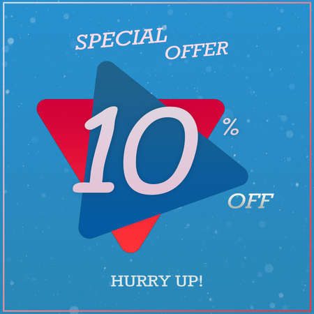 Creative Special Offer Discount Banner With 10% Off Hurry Up Text Design On Blue Red Triangle Label Tag.