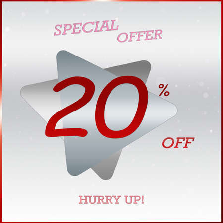 Primium Special Offer Discount Banner With 20% Off Hurry Up Text On Silver Grey Triangle Label With Glossy Red Frame.