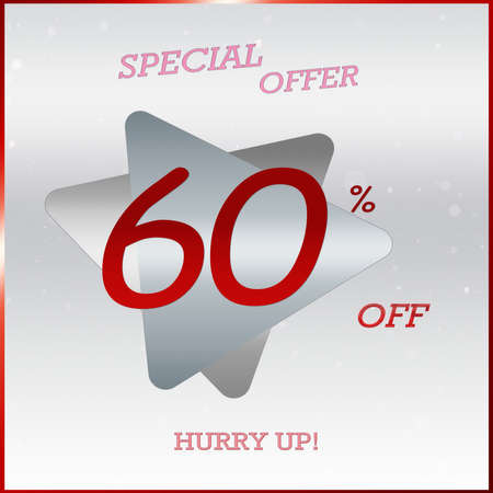 Primium Special Offer Discount Banner With 60% Off Hurry Up Text On Silver Grey Triangle Label With Glossy Red Frame.