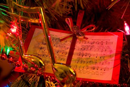 Christmas tree with music note and music ornaments photo