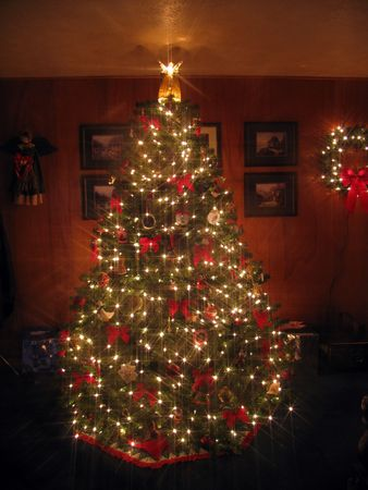 Christmas tree with Angel displaying white lights under an 8-point star filter photo