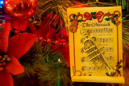 Christmas tree with trumpet and music ornaments