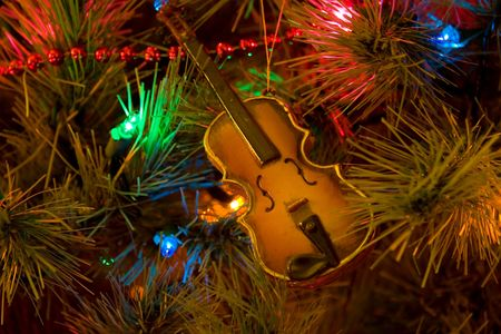 Christmas tree with violin ornament Stock Photo - 370543