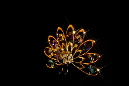 Gold and crystal peacock ornament on black velvet with star effect Stock Photo - 370519