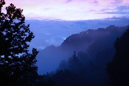 quietude: Dusk falling in the Appalachian mountains Imagens
