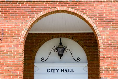 hometown: Entrance to a hometown city hall
