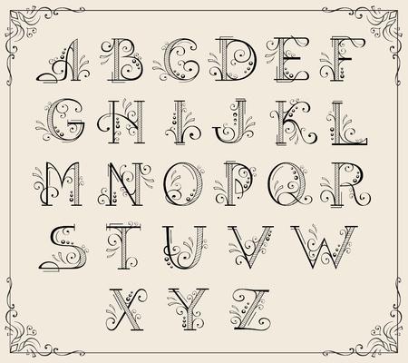alphabet style: Calligraphic swirly alphabet framed