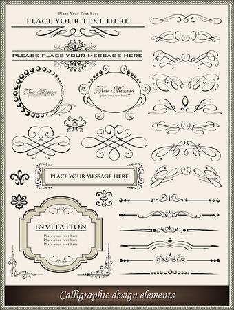 calligraphie chinoise: Vector illustration d'�l�ments calligraphiques et de la d�coration la page