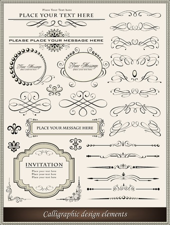 caligrafia: Vector illustration of calligraphic elements and page decoration