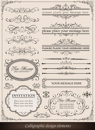 Vector illustration of calligraphic elements and page decoration