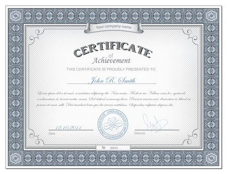 diplomas: Vector illustration of detailed cerificate