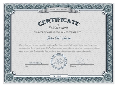 certificate template: Vector illustration of detailed cerificate