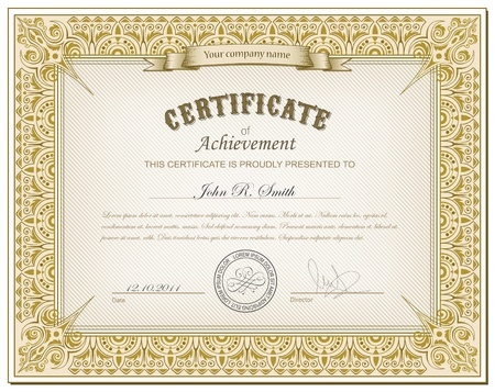 diploma border: Vector illustration of detailed gold cerificate Illustration