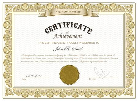 certificat diplome: Vector illustration d�taill�e de l'or cerificate Illustration