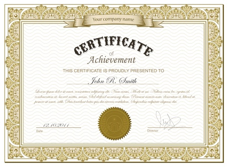 certificate template: Vector illustration of detailed gold cerificate Illustration