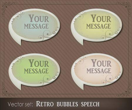Vector illustration of retro bubbles speech